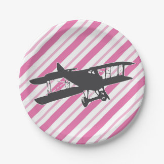 Pink and Gray Vintage Airplane Paper Plates