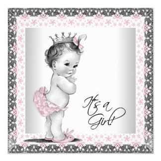 """Pink and Gray Vintage Baby Girl Shower 5.25"""" Square Invitation Card"""