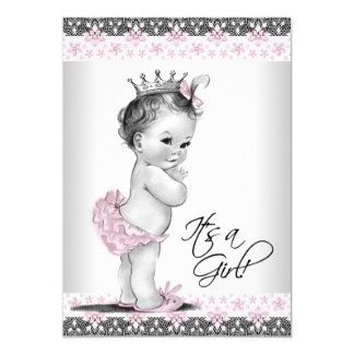 """Pink and Gray Vintage Baby Girl Shower 5"""" X 7"""" Invitation Card"""