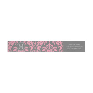 Pink and Gray Vintage Damask Pattern Wrap Around Label