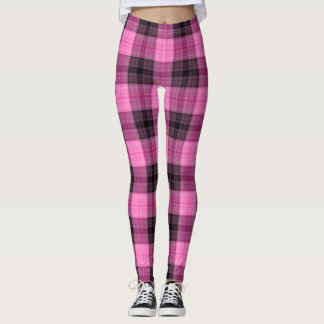 Pink and Gray Winter Plaid Leggings