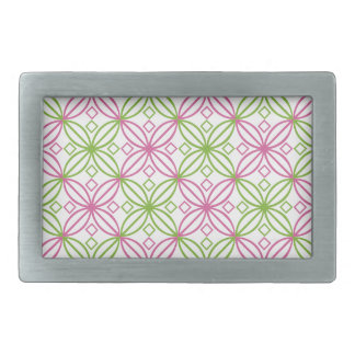 Pink and green abstract circles pattern belt buckle