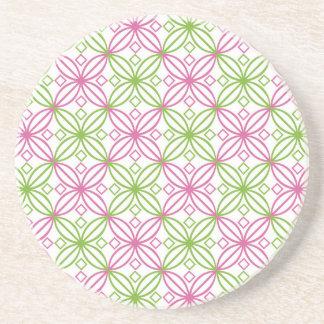 Pink and green abstract circles pattern coaster