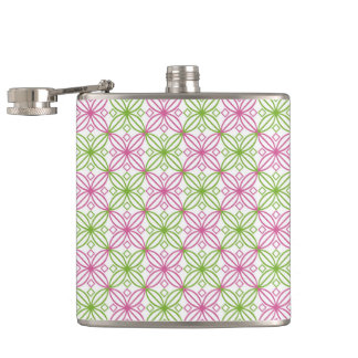 Pink and green abstract circles pattern hip flask