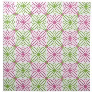 Pink and green abstract circles pattern napkin