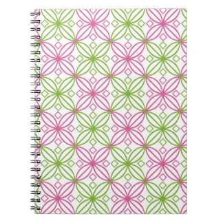 Pink and green abstract circles pattern notebook