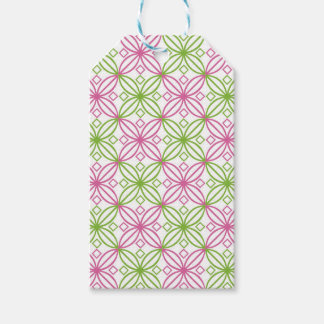 Pink and green abstract circles pattern pack of gift tags