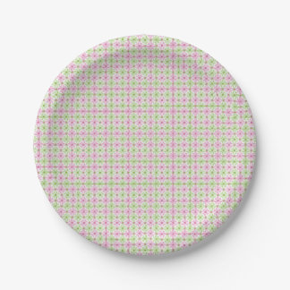 Pink and green abstract circles pattern paper plate