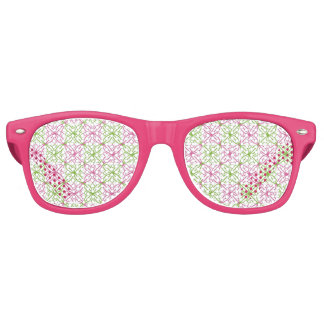 Pink and green abstract circles pattern party sunglasses