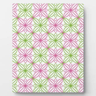 Pink and green abstract circles pattern plaque