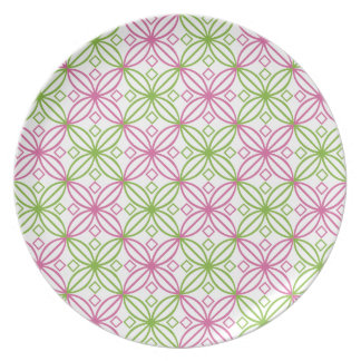 Pink and green abstract circles pattern plate