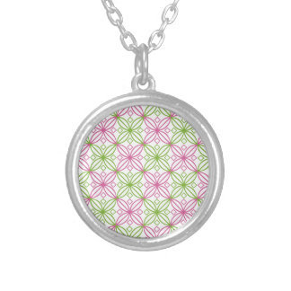 Pink and green abstract circles pattern silver plated necklace