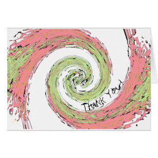 Pink and Green Abstract Spiral Thank You Card