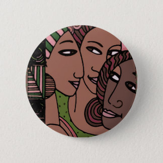 Pink and Green African American Women 2 Inch Round Button