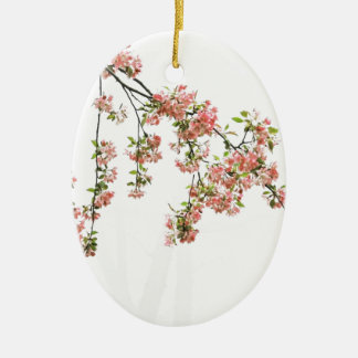Pink and Green Apple Blossoms Ceramic Oval Ornament