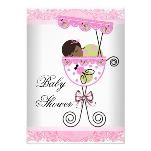 pink and green baby girl shower invitations