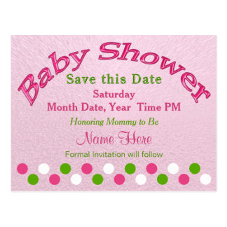 Pink and Green Baby Shower Save the Date Cards Postcard