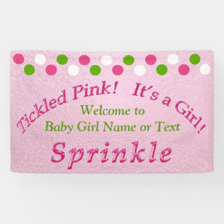 Pink and Green Baby Sprinkle Banner with Your Text