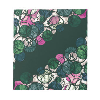 Pink and green bubbles notepad