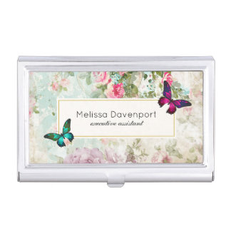 Pink and Green Butterflies on Shabby Vintage Roses Business Card Holder