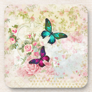 Pink and Green Butterflies on Shabby Vintage Roses Coaster