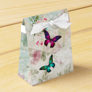 Pink and Green Butterflies on Shabby Vintage Roses Favor Box