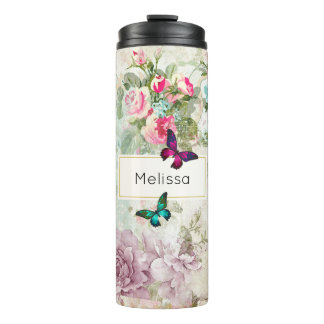 Pink and Green Butterflies on Shabby Vintage Roses Thermal Tumbler