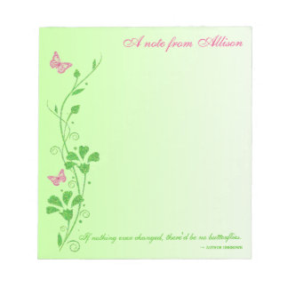 Pink and Green Butterfly Floral Notepad