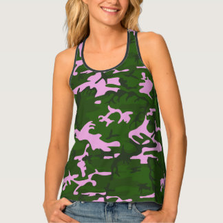 Pink and Green Camo Tank Top