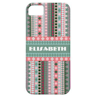 Pink and Green Candy Aztec Zigzag Pattern iPhone 5 Case