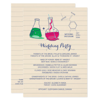 Pink and Green Chemistry Wedding Programs
