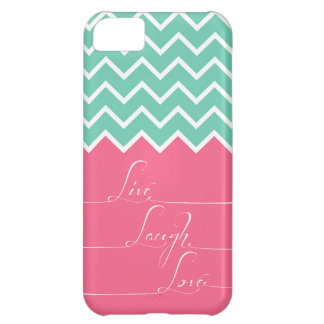 Pink and green chevron/live,laugh,love Case-Mate iPhone case