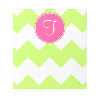 Pink and Green Chevron Monogram Notepad