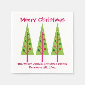 Pink and Green Christmas Trees Christmas Napkins Paper Napkins