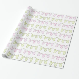 Pink and Green Clothesline Baby Shower Gift Wrap