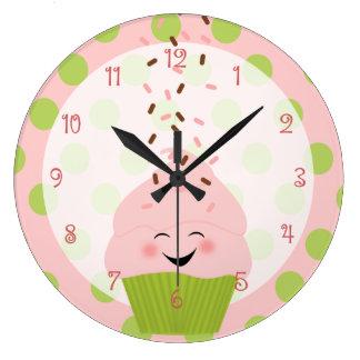 Pink and Green Cupcake Large Clock
