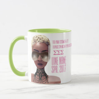Pink and Green Custom Greek Sorority Gift Mug