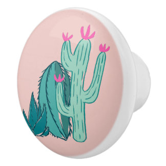 Pink and Green Cute Cactus Ceramic Knob