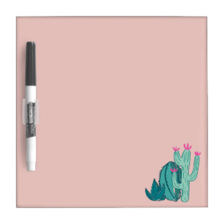 Pink and Green Cute Cactus Dry Erase Board