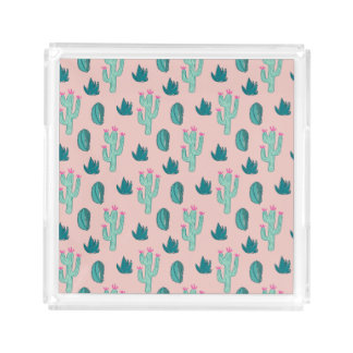 Pink and Green Cute Cactus Pattern Acrylic Tray