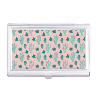 Pink and Green Cute Cactus Pattern Business Card Holder