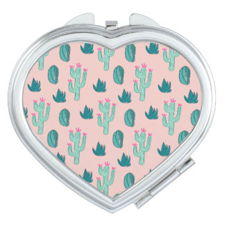 Pink and Green Cute Cactus Pattern Compact Mirror