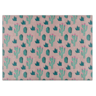 Pink and Green Cute Cactus Pattern Cutting Board
