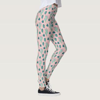 Pink and Green Cute Cactus Pattern Leggings