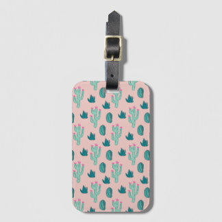 Pink and Green Cute Cactus Pattern Luggage Tag