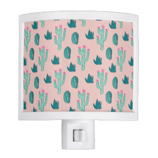 Pink and Green Cute Cactus Pattern Night Lite