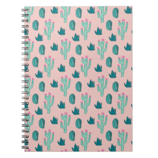 Pink and Green Cute Cactus Pattern Notebook