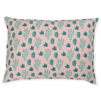 Pink and Green Cute Cactus Pattern Pet Bed