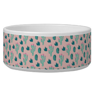 Pink and Green Cute Cactus Pattern Pet Food Bowl