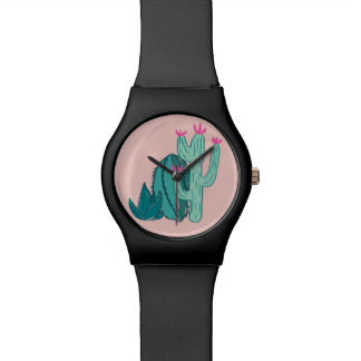 Pink and Green Cute Cactus Wristwatch